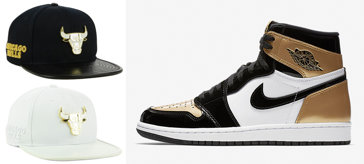 fdba217043faf8 jordan-1-gold-toe-bulls-snapback-hat. Popping up from Pro Standard are  these new Chicago ...