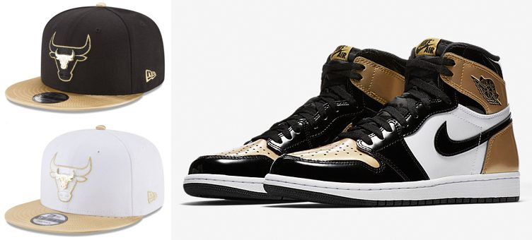 "Air Jordan 1 ""Gold Toe"" x Chicago Bulls New Era Triple Gold 9FIFTY Snapback Caps"