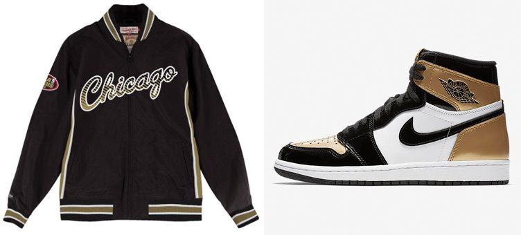 "e3b72a2721b527 Air Jordan 1 ""Gold Toe"" x Chicago Bulls NBA Team History Warm Up Jacket"