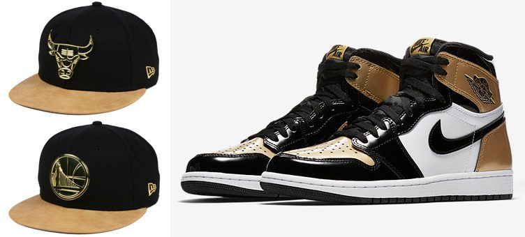 """2851c4a5c55d8b Air Jordan 1 """"Gold Toe"""" x New Era NBA Fall O Gold 59FIFTY Fitted Caps"""