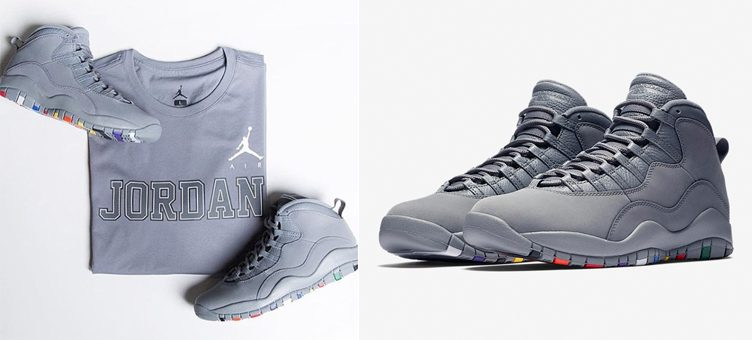 "Air Jordan 10 ""Cool Grey"" x Jordan Sportswear AJ 10 Cool Grey ""45"" T-Shirt"