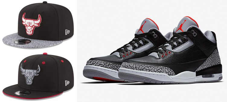 "Air Jordan 3 ""Black Cement"" x Chicago Bulls New Era Sneaker Hook Caps"