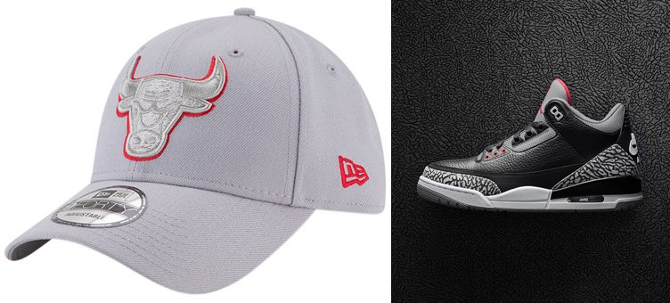 "Air Jordan 3 ""Black Cement"" x Chicago Bulls New Era Cement Grey Snapback Cap"