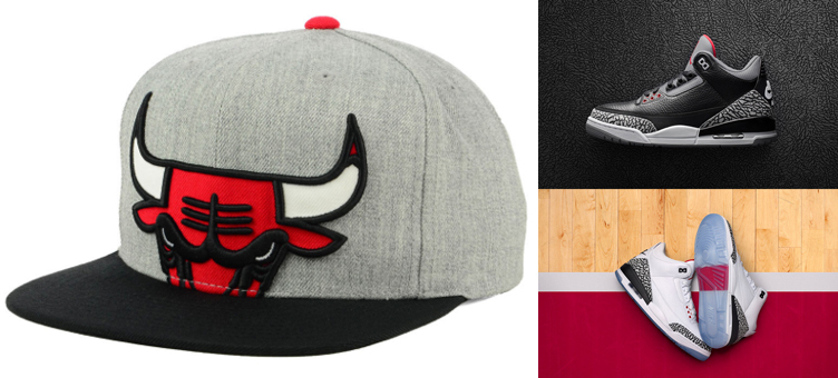 be0ccc80ac3 Mitchell Ness Bulls Jordan 3 Cement Hats