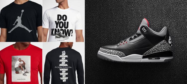 5f2f8a2ed5ae5a Air Jordan 3 Black Cement Sneaker Shirts
