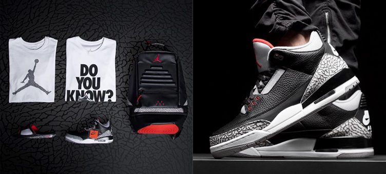 "Air Jordan 3 ""Black Cement"" Sneaker Hooks Available at Champs Sports"