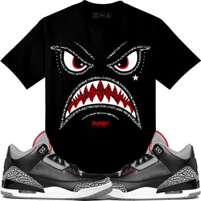 "4678c1b49da1ed Air Jordan 3 ""Black Cement"" Sneaker Match Shirts"
