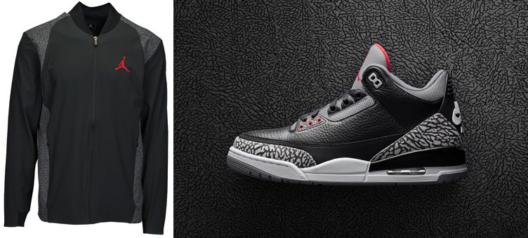 "Air Jordan 3 ""Black Cement"" x Jordan Ultra Flight Elephant Jacket"