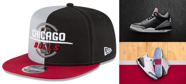 "Chicago Bulls New Era NBA 90'S Throwback Collection Snapback Cap x Air Jordan 3 ""Black & White Cement"""