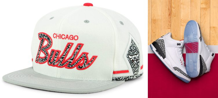 "Air Jordan 3 ""Free Throw Line"" x Chicago Bulls Mitchell & Ness Cement 3 Snapback"