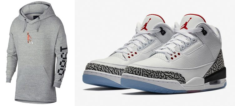 "Air Jordan 3 White Cement ""Free Throw Line"" x Jordan Wings 1988 Hoodie"