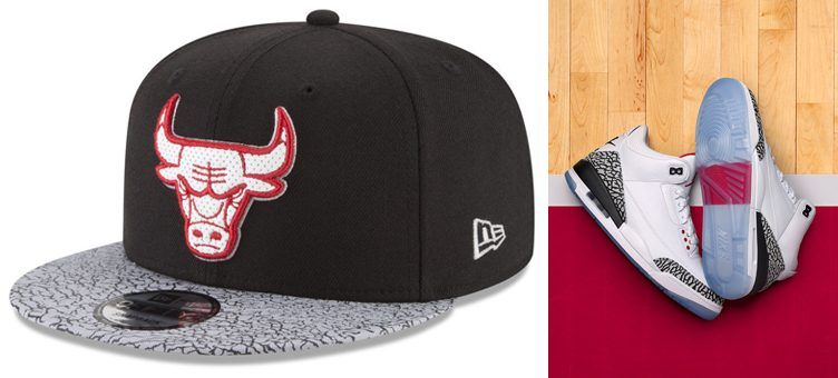 "Air Jordan 3 ""Free Throw Line"" x Chicago Bulls New Era Cement Sneaker Hook Cap"