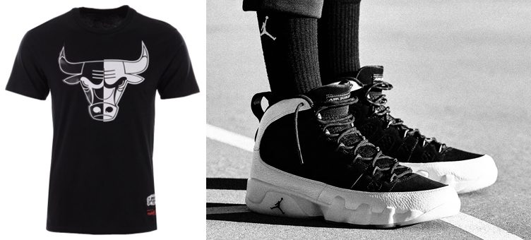 "new product 46ec9 d0690 Air Jordan 9 ""City of Flight"" x Chicago Bulls NBA Black White Split T-Shirt"