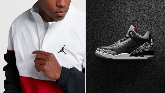 "a731f7fbe5692 Air Jordan 3 ""Black Cement"" x Jordan Retro 3 Half-Zip Black Cement Jacket"