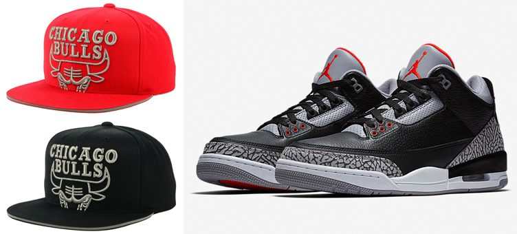 "2ea95615b72340 Air Jordan 3 ""Black Cement"" x Chicago Bulls Mitchell   Ness Cropped  Metallic Snapback Caps"
