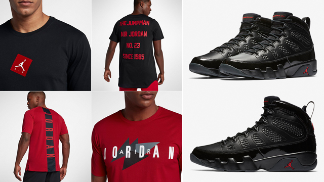 "timeless design dfc1b 7b044 The Best New Black and Red Jordan Brand T-Shirts to Match the Air Jordan 9  ""Bred"""