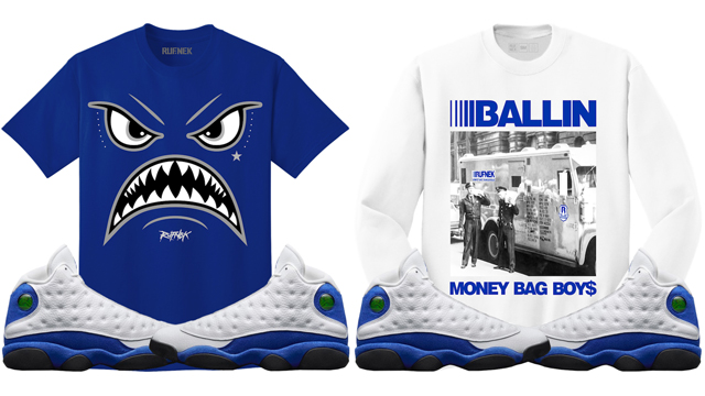 hyper-royal-jordan-13-sneaker-shirts