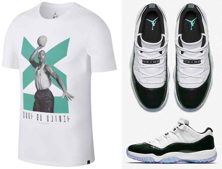 "ab515c073ad9aa Air Jordan 11 Low ""Iridescent"" x Jordan Retro 11 Low ""Emerald"" T-Shirt"