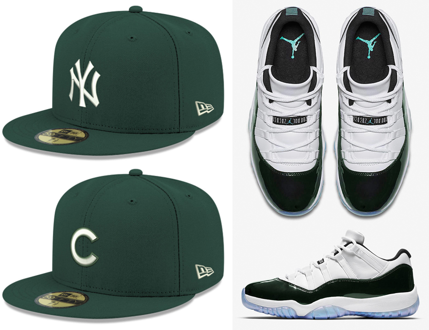 jordan-11-low-emerald-mlb-hats