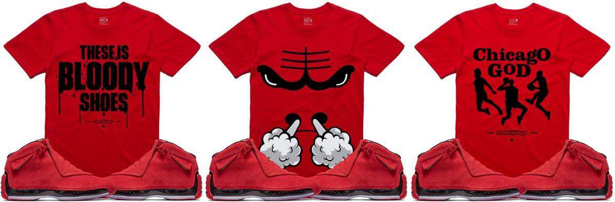 55cc3de15b2d Jordan 18 Toro Red Sneaker Shirts by Retro Kings
