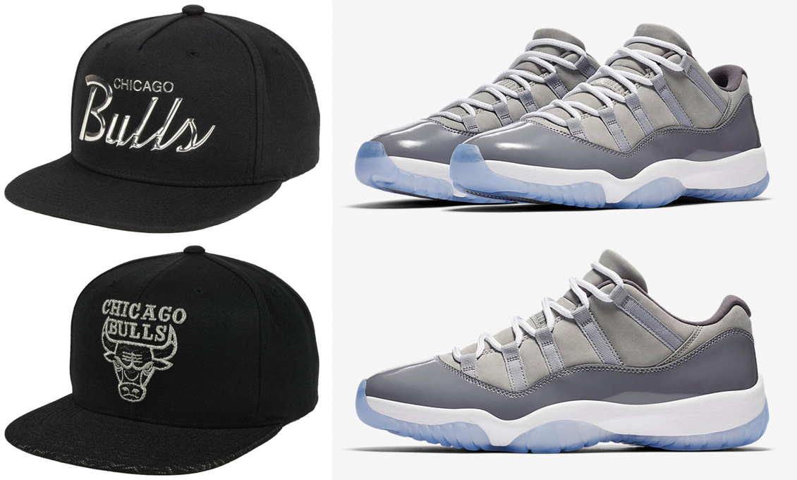 "b2ea5c749d0 Chicago Bulls Mitchell & Ness Snapback Caps to Match the Air Jordan 11 Low  ""Cool Grey"". jordan-11-low-cool-grey-bulls-hats"