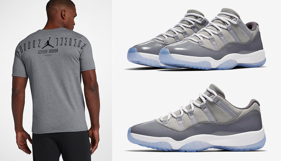 3fd3220e5a23 Air Jordan 11 Low Cool Grey Shirts
