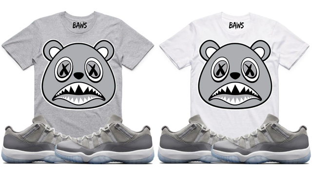 "b8d92301465888 BAWS Sneaker Tees to Match the Air Jordan 11 Low ""Cool Grey"""