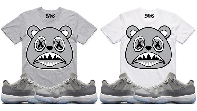 "15959b517cc013 BAWS Sneaker Tees to Match the Air Jordan 11 Low ""Cool Grey"""