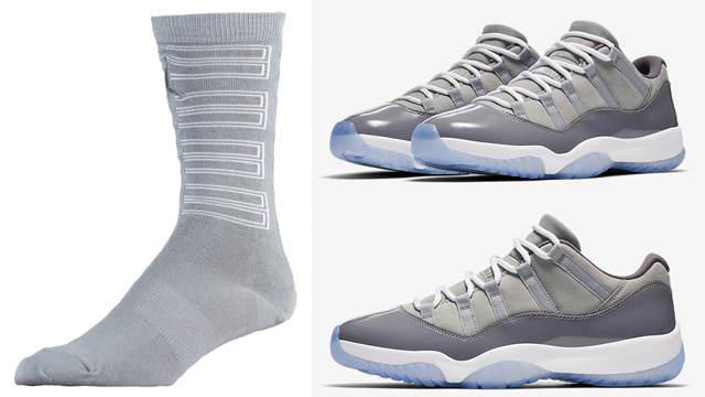 "39370c4ae4c7ec Air Jordan 11 ""Cool Grey"" x Jordan Retro 11 ""Cool Grey"" Crew Socks"