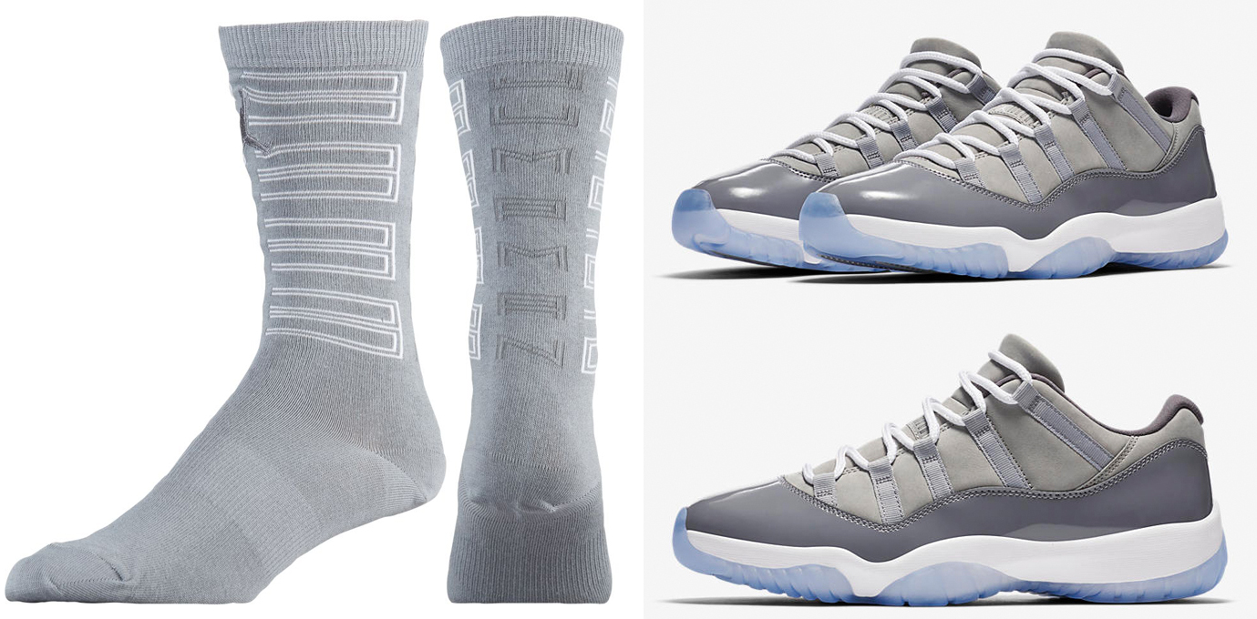 b695c7dd0af Air Jordan 11 Low Cool Grey Socks | SneakerFits.com