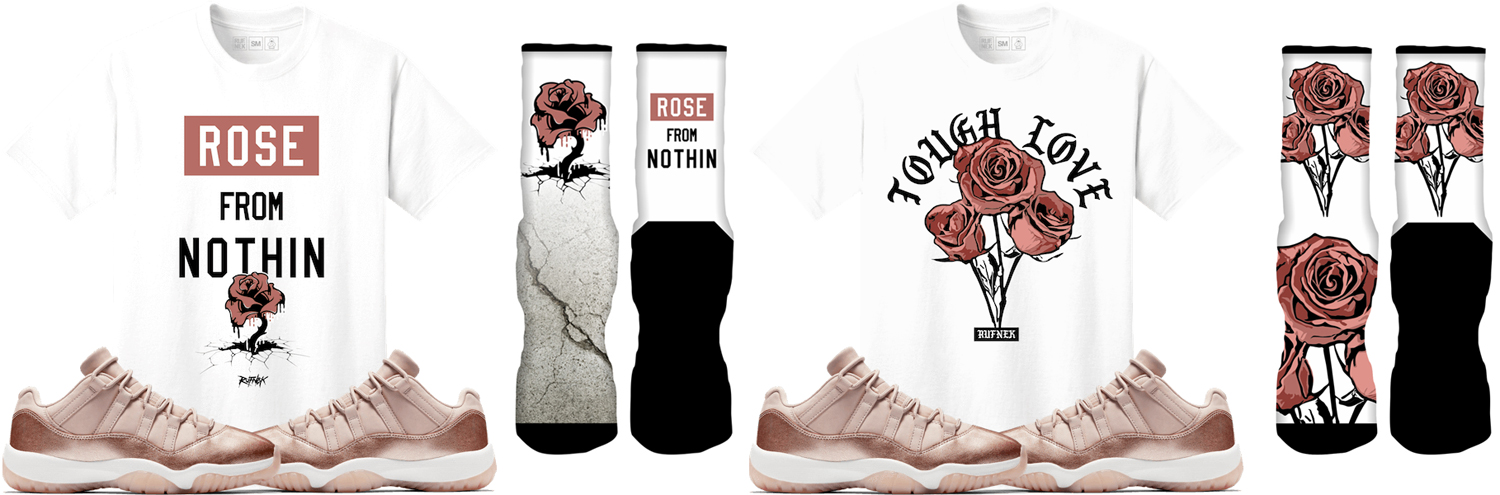 jordan-11-low-rose-gold-shirt-socks-match