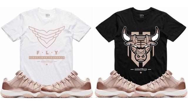 separation shoes e8498 3c005 Jordan 11 Low Rose Gold Sneaker Tee Shirts | SneakerFits.com