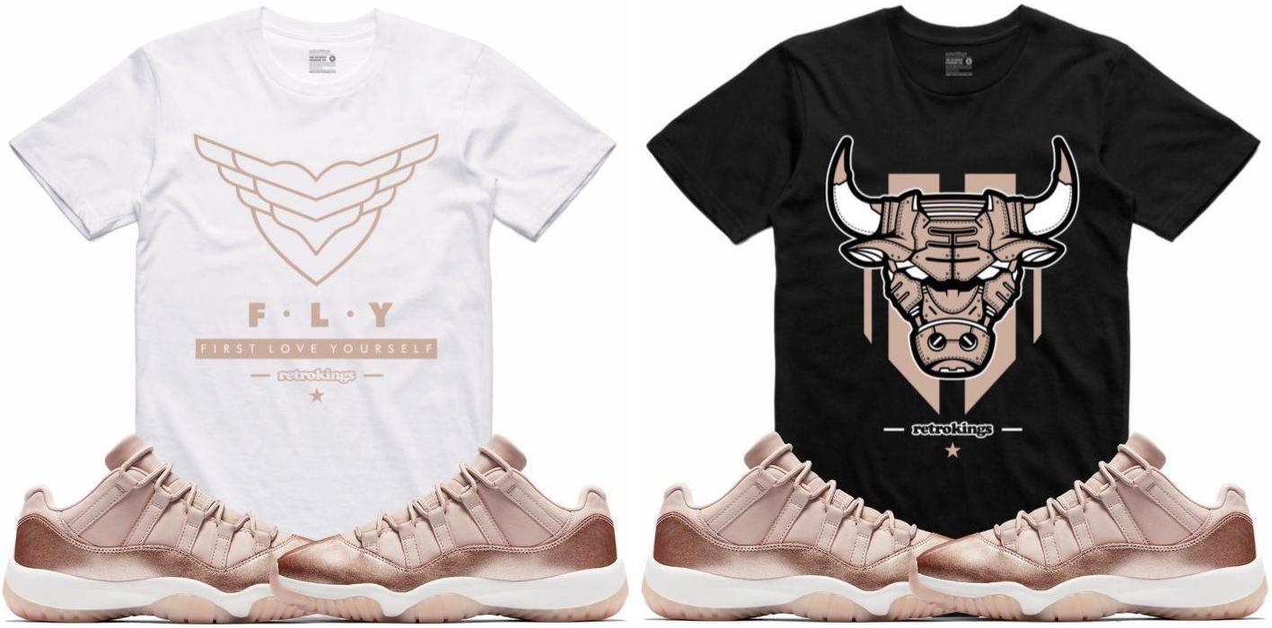 49cb8c1d3a94 Jordan 11 Low Rose Gold Sneaker Tee Shirts