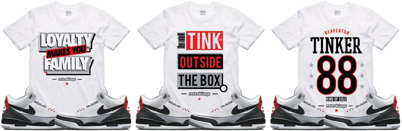 072118c5fcc7fc Jordan 3 Tinker Sneaker Tee Shirts by Retro Kings