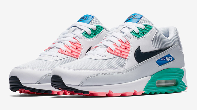 "9a02f300f7 The Nike Air Max 90 ""South Beach"" sneakers have restocked at Champs Sports,  releasing right in time for the sunny seasons. Mixing white, pink, teal and  blue ..."
