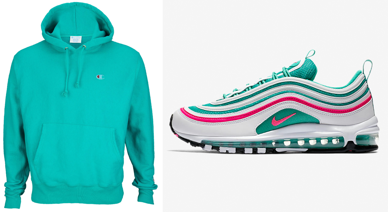 """505134136 Champion Pigment Dye Pullover Hoodies to Match the Nike Air Max 97 """"South  Beach"""""""