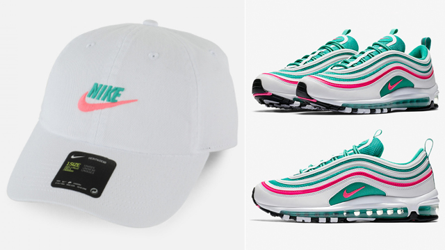 """3fa694ea5c5 On the hunt for that perfect hat to match the Nike Air Max 97 """"South Beach""""  sneakers  Here s a recap of some of the best caps to hook with the white"""