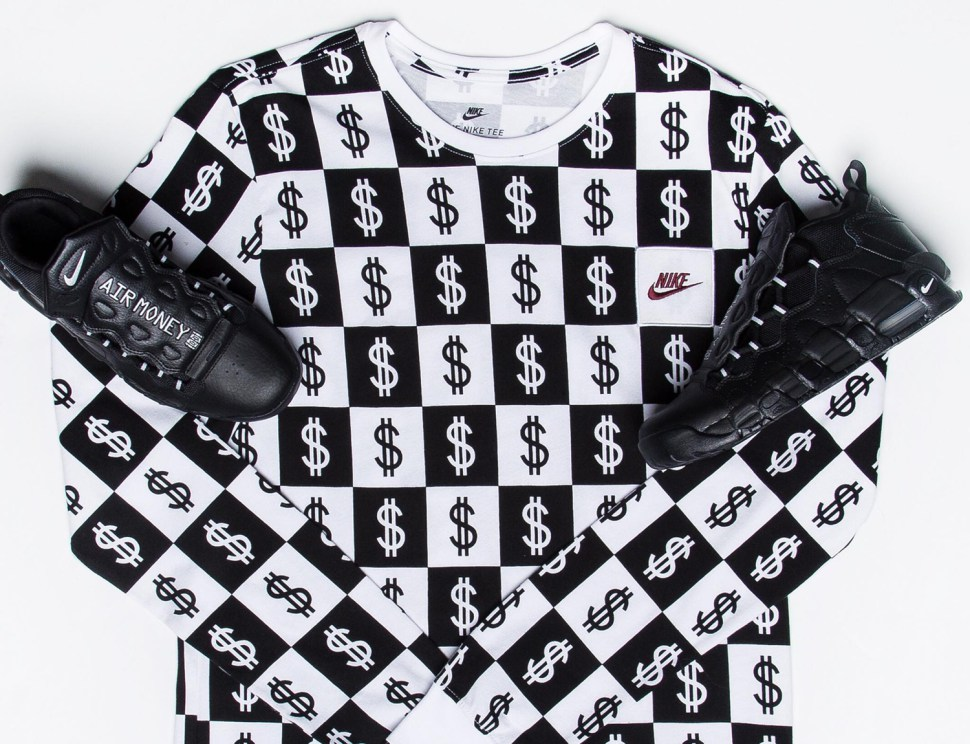 Nike Air More Money Black Silver Shirts | SneakerFits.com