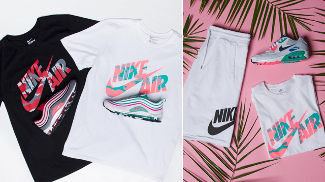 87321eb4a Made to match with some of the newest Nike Air sneakers are these Swoosh  Camo T-Shirts that just arrived at Champs Sports. While the white, pink and  teal ...