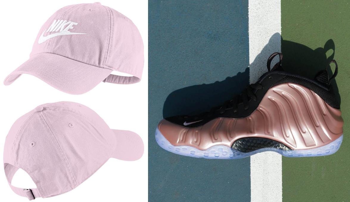 nike-foamposite-rose-rust-pink-hat-match
