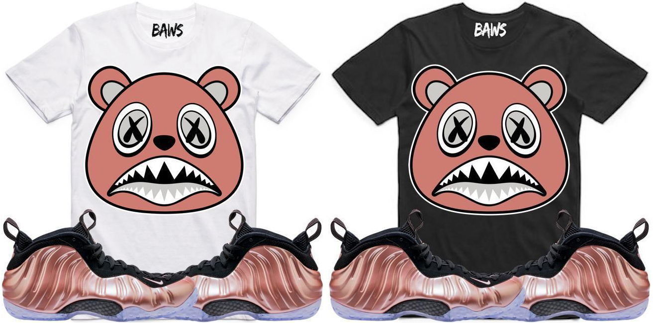"buy popular 84060 97711 Rose Gold BAWS Sneaker Tees to Match the Nike Air Foamposite One ""Rust Pink"""