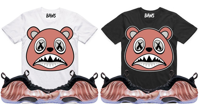 "dbb0a788dbb Rose Gold BAWS Sneaker Tees to Match the Nike Air Foamposite One ""Rust Pink"""