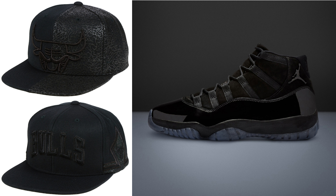 54361c8572a Air Jordan 11 Cap and Gown Black Bulls Caps | SneakerFits.com