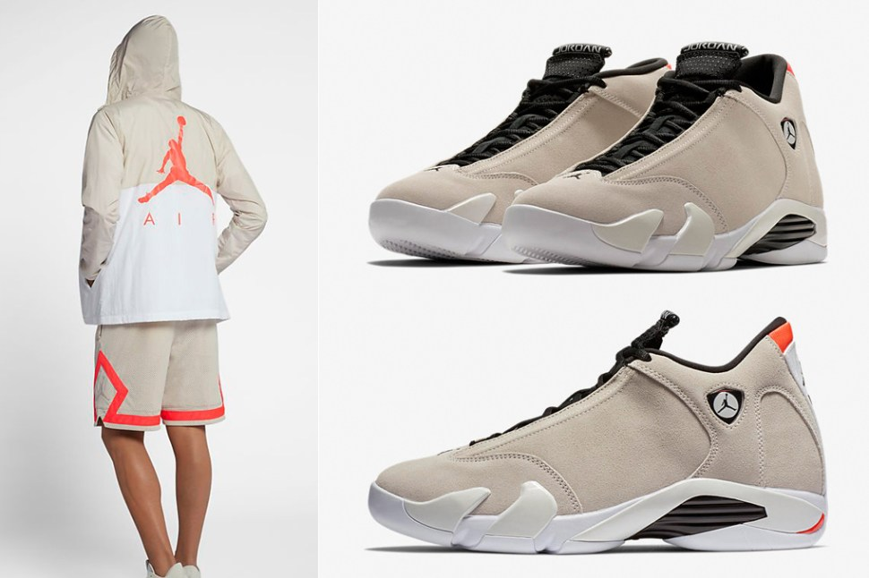 4ba894618cae Air Jordan 14 Desert Sand Clothing Match