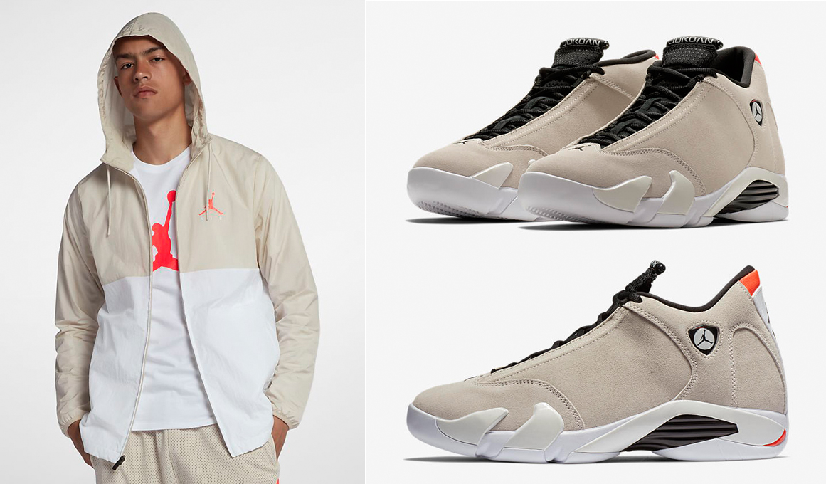 "56cdf768968b0a Air Jordan 14 ""Desert Sand"" x Jordan Jumpman Air Windbreaker Jacket"
