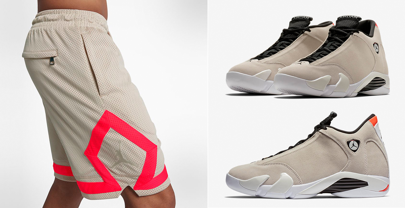 "huge discount d28b7 3fae8 Air Jordan 14 ""Desert Sand"" x Jordan Sportswear Diamond Shorts"
