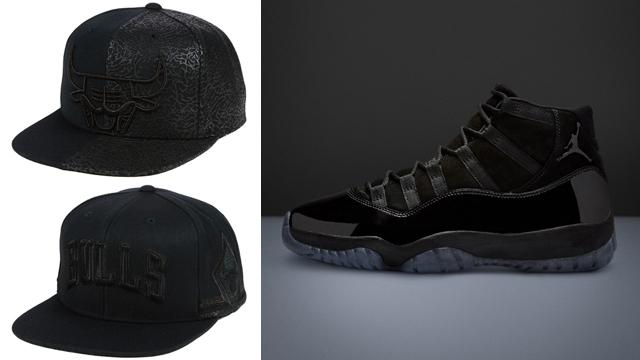 """42cf93323d096c Air Jordan 11 """"Cap and Gown"""" x Chicago Bulls Mitchell   Ness NBA Black Cat Snapback  Caps"""