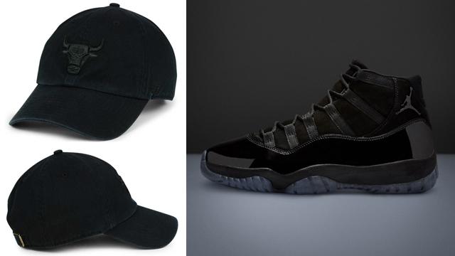 """071de738cd727a Air Jordan 11 """"Cap and Gown"""" x Chicago Bulls  47 NBA Black on Black CLEAN  UP Cap"""