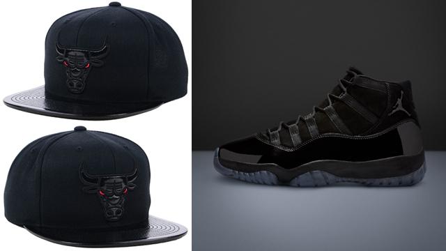"b53edb970a97f3 Air Jordan 11 ""Cap and Gown"" x Chicago Bulls Mitchell   Ness Patent 2Tone  Tonal Snapback Cap"