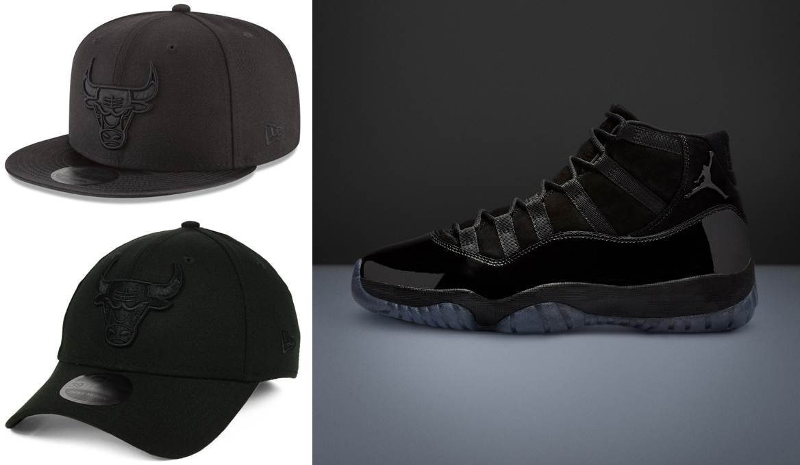 "quality design 0a217 2cf21 Air Jordan 11 ""Cap and Gown"" x Chicago Bulls New Era NBA Blackout Caps"